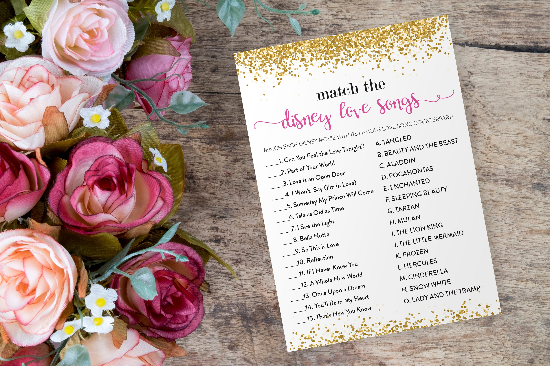 Disney Bridal Shower Games Match The Disney Love Songs Game Etsy