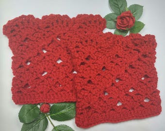 Valentine Red Lacy/Lace Boot Cuffs/ Boot Toppers/Boot accessory     made in a stretchy pattern