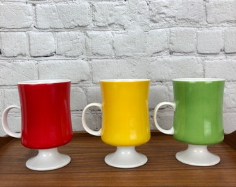 Seyei Fine China Vintage Solid Color Footed Mugs - Set of 3 Porcelain Irish Coffee Cups - Red Yellow Green - Made in Japan