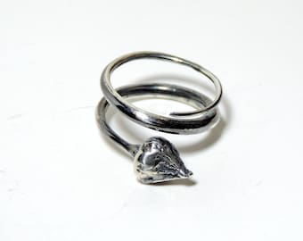 Statement, botanical sterling silver oxidised ring with a cast rose bud, unique and handmade