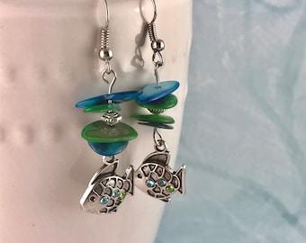 Colored Shell Fish Earrings / Blue Green Earrings / Shell Dangle Earrings
