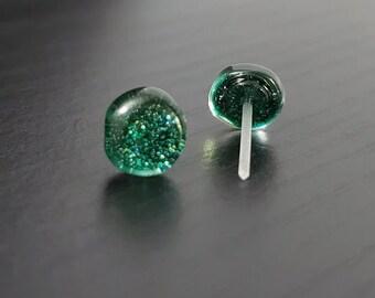 Forest Green Glitter 8mm Plastic Post Stud 6646d0368b16