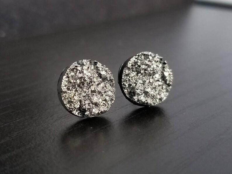 Faux 12mm Druzy Earring Stud Hypoallergenic Earring Stud Dark Grey Druzy Plastic Post Earrings Nickel Free Earring Stud