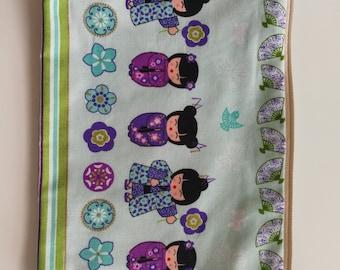 Medium size fun Japanese theme bag,print fabric cosmetic bag,floral print bag, Japanese doll print bag