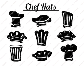 Chef Hats Svg Eps Png Jpg ClipartsPrintable Silhouette And Cricut File