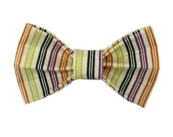 Yellow, Orange, Black and Purple Vertical Stripes Bow Tie by The Debonair Doggy