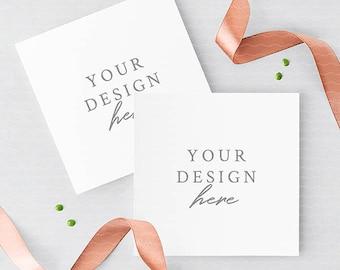 Wedding Square Invitation Card Mockup With Rose Gold Ribbons