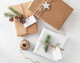 Download Free Christmas Gift Tag Mockup / Portrait Tag / Landscape Tag / Christmas Tag /Pine Cones, Evergreen Plant, Gifts, Stars for Instagram PSD + JPEG PSD Template