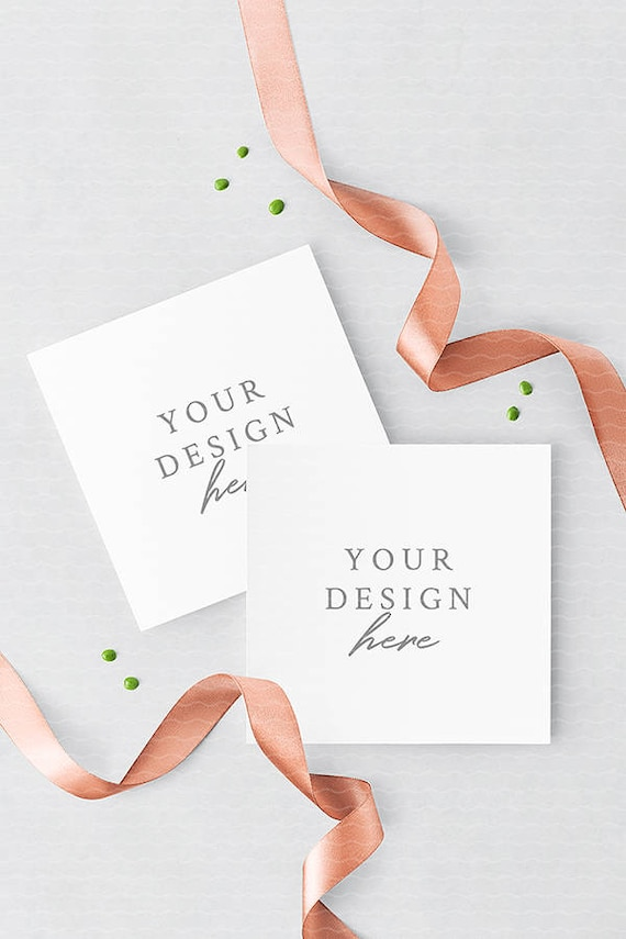 Wedding square invitation card mockup with rose gold ribbons etsy image 0 stopboris Image collections