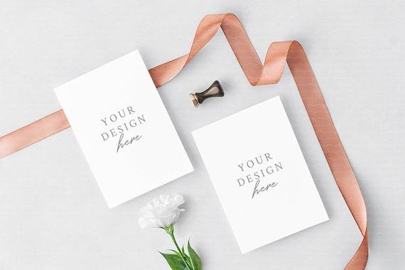 Wedding Invitation Mockup Greeting Cards Mockup Floral Mockup Rose Gold Ribbon 5 X 7 Mockup Psd Jpeg Styled Stock Photography