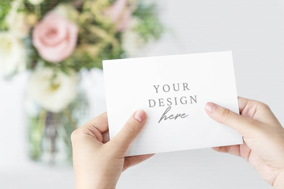 Wedding Invitation Mockup Greeting Card Mockup Save The Date Woman Hands Hold 7 X 5 Psd Jpeg Styled Stock Photography