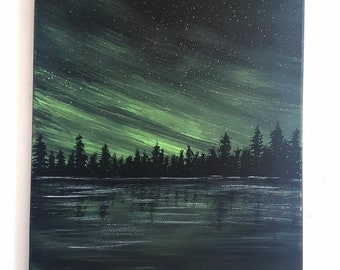 ORIGINAL GALAXY Painting on canvas pine trees northern Ontario canadian landscape gift large wall art aurora sky northern lights green