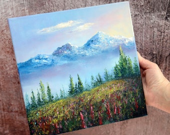 Foggy mountains Painting meadow Landscape Original Art Smoky Mountain peaks wall art 10 x 10 inches by MilaludArt