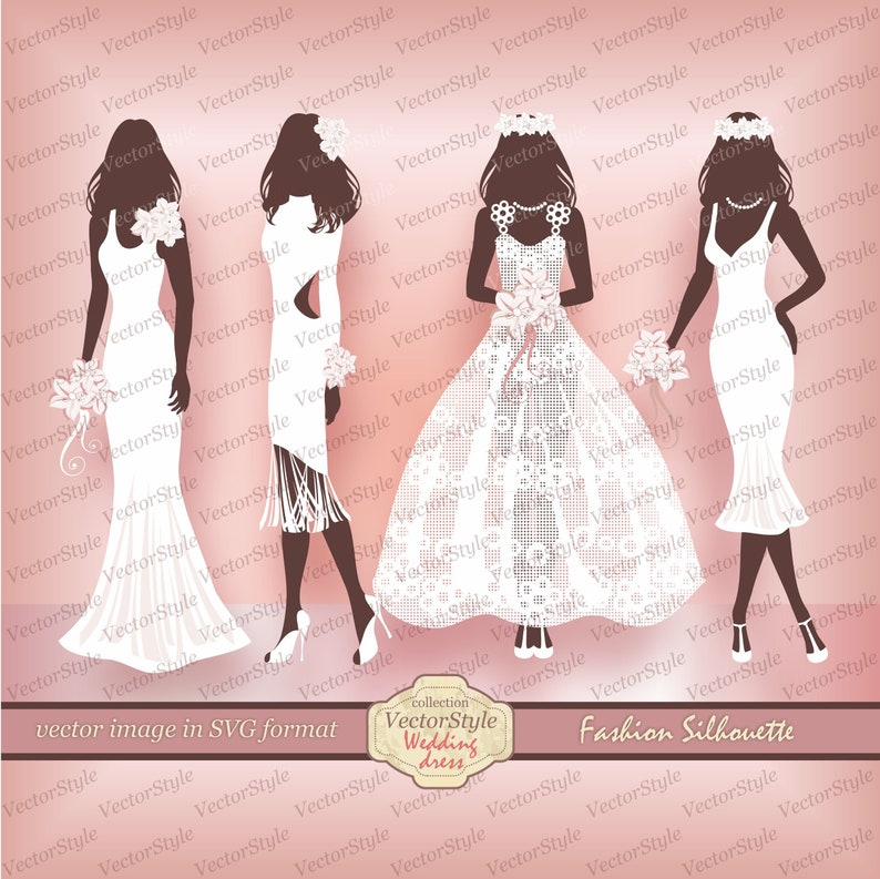 Wedding Dress Clipart.Beauty Glamour Clip Wedding Scrapbook Wedding Dress Clipart Fashion Clipart Woman Silhouette Digital Clipart Sales Label Fashion Advertising