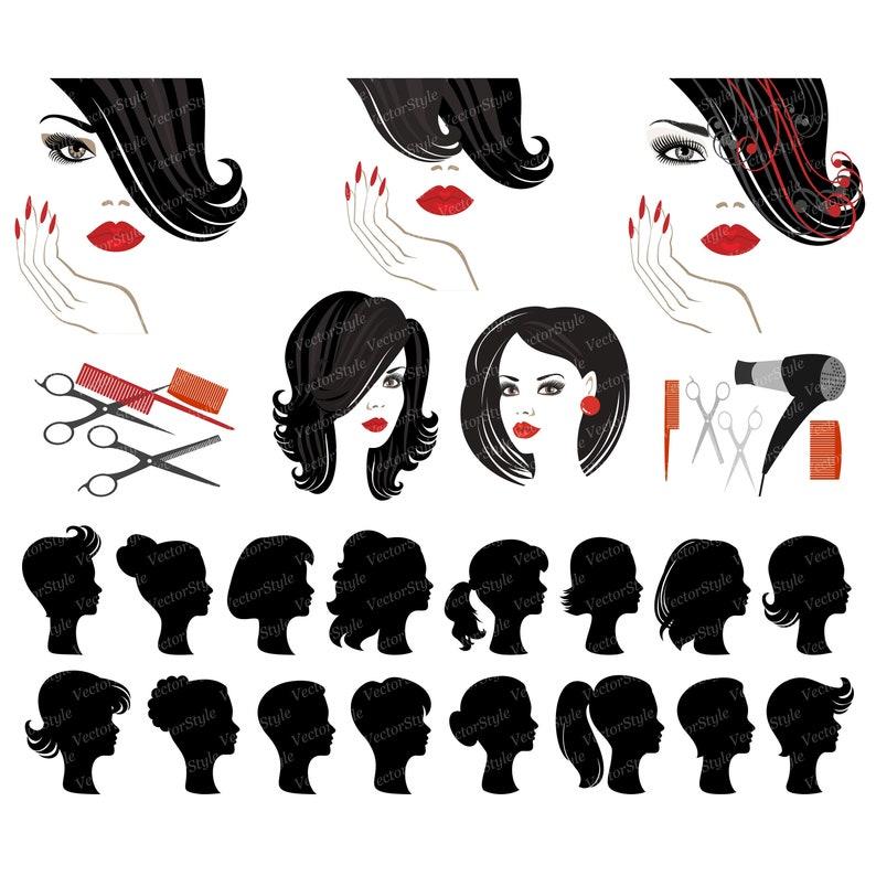 Beauté Clipart Logo De Salon De Coiffure Femme Coupe Clip Etsy