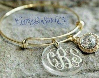 Monogrammed Bracelets - Silver or Gold - 3 Initials