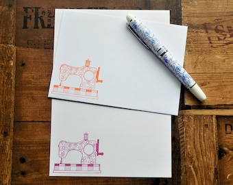 Patterned Sewing Machine Letter/Writing/Stationary Set