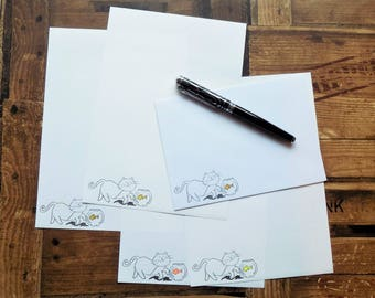 Cat and Fish Letter/Writing/Stationary Set