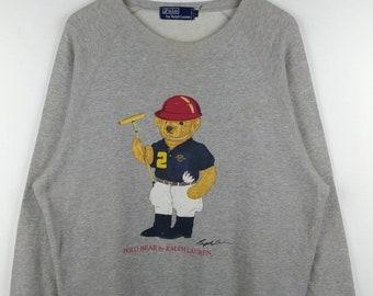 3fe09cc8 Vintage POLO BEAR 1993 By Ralph Lauren Sweatshirt Pullover Crewneck Long  Sleeve Large Size