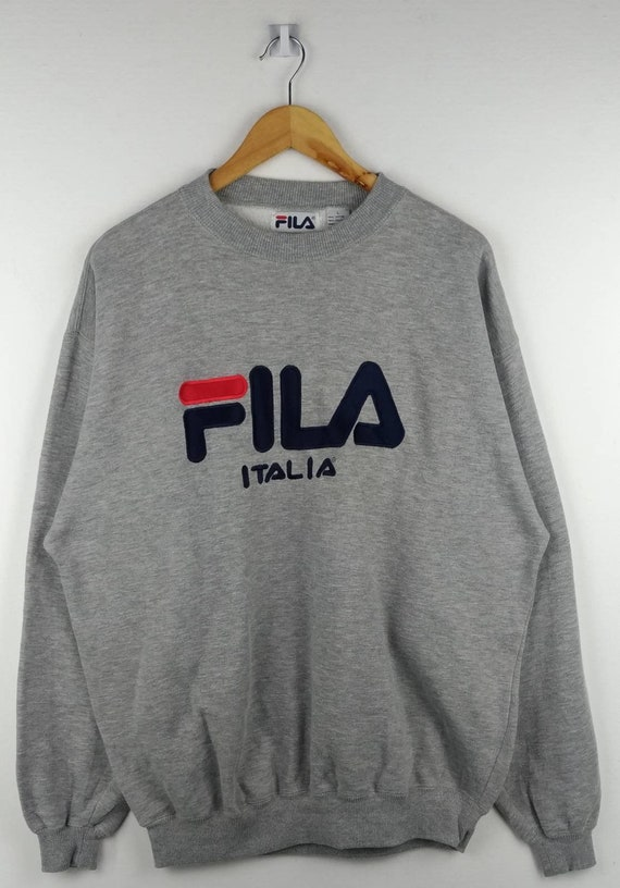 Rare!! Fila Italia Sweatshirt Spell Out Embroidery Big Logo Pullover Jumper Crewneck Long Sleeves Large Size