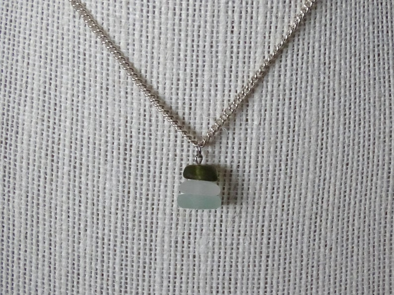 Stacked sea glass pendant necklace