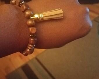 Wooden Bead Tassel Bracelet