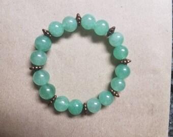 Green Aventurine and Copper Beaded Bracelet