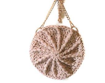 Blush Round Crossbody | Eco-Friendly | Crochet Handbag | Pink Round Purse | Purse with Gold Chain | Crossbody Bag | 100% Handmade |