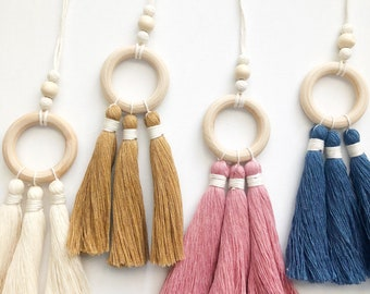 Colorful Hanging Oil Diffuser | Small | Tassels |Handmade | 100% Cotton | Wood | Various Colors | Gifts