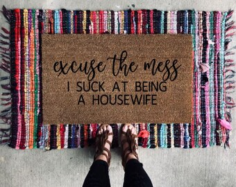 the Dogs are Being Assholes Doormat Welcome Home Coir Doormat Excuse the Mess Funny Welcome Mat
