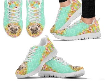 9b36726ea99 Pug Gifts - Pug Sneakers   Gift for Dog Lovers - D148B-PWP-SNKR-Teal Floral  - Available In Women and Kids  Sizes