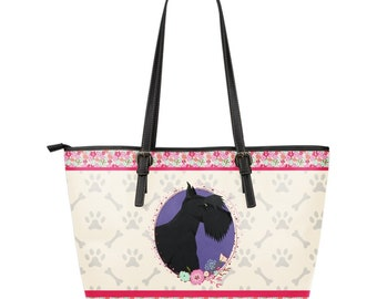 Scottish Terrier Dog Gifts - Scottish Terrier Lovers Leather Tote - Scottish  Terrier Mom Pink Floral Tote - Small PT10839 Large PT10780 84e316a8bab85