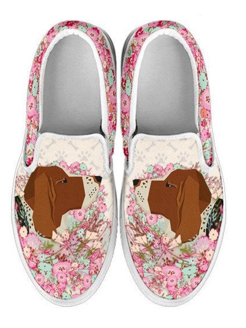 7156aba9d5c94 Basset Hound Slip On Walking Shoes / Basset Hound Pink Floral Slip On /  Basset Hound Gift - Available In Women &Kids Sizes - PT10385