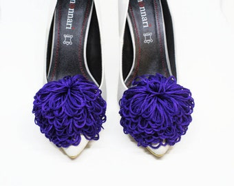 Purple Pom Poms Shoe Clips Aquazzura Heels