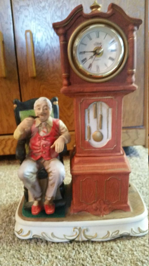 Melody In Motion Old Man In Rocking Chair Clock Modeled By Etsy