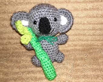 Mini Koala Bear Holding A Mini Bamboo Stick/Crocheted Koala Bear/ Amigurumi/Kawaii Styled/ Plush Koala Bear/Plushie