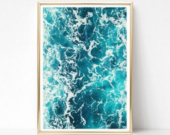 Ocean Wall Art Prints, Nature Print, Ocean Print, PRINTABLE Art, Modern Ocean Decor, Blue Water, Ocean Poster, Beach Decor, Digital Download