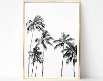 Palm Tree Print, Tropical Wall Art Prints, Palm Print, Black and White Prints, PRINTABLE Art, Hawaii Poster, Minimalist Palm Tree Wall Art