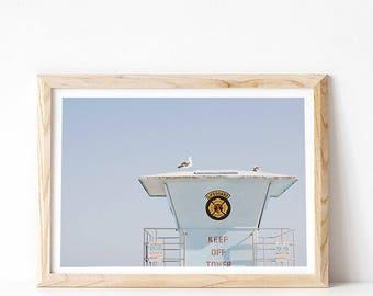 Beach Print, Minimalist Wall Art Prints, Modern Beach Decor, PRINTABLE Art, Lifeguard Tower, Coastal Art Digital Download, Beach Photography