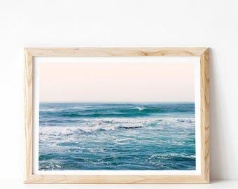 Coastal Wall Art Print, Ocean Print, Beach Photography Print, Beach Decor, Ocean Poster, PRINTABLE Art, California Photo, Blue Ocean Wave