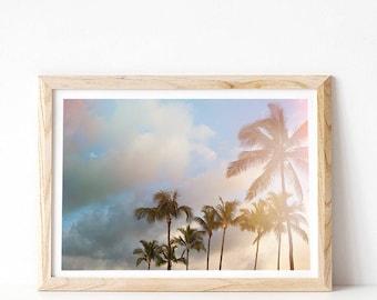 Tropical Decor, Palm Tree Print, PRINTABLE Art, Tropical Wall Art Prints, Pastel Beach Print, Palm Tree Decor, Poster Print Downloadable Art