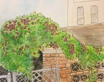 City Flowers - 11x14 Watercolor
