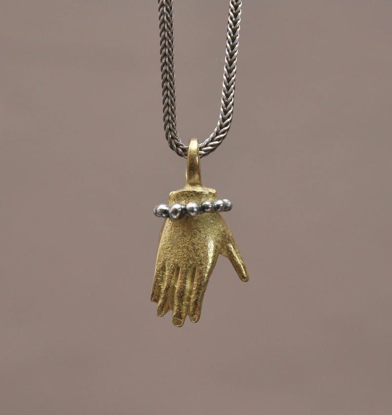 94afe47149 Mosiądz i wisiorek srebro ręcznie amulet antyczny Shymerian