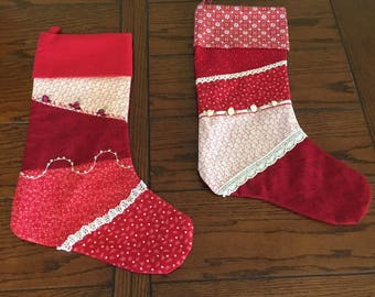 Quilted, one of a kind stockings
