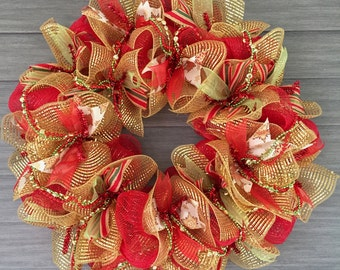 Red and Gold Christmas Wreath 24""
