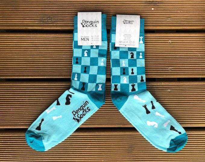 Chess socks - Blue Funny Socks for Men