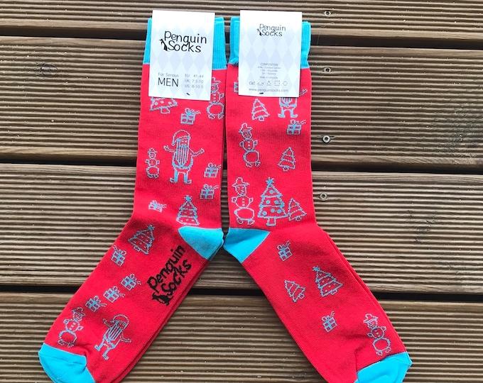 Red Christmas socks - Funny socks for Men
