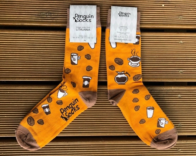 Coffee socks - Funny orange socks for Women