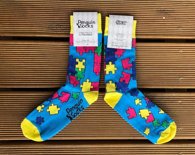 Puzzle socks - Funny yellow socks for Women