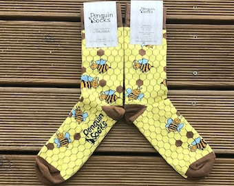 Bee socks - Funny yellow socks for Women